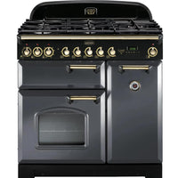 Rangemaster Classic Deluxe CDL90DFFSL/B 90cm Dual Fuel Range Cooker - Slate/Brass Trim