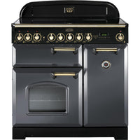 Rangemaster Classic Deluxe CDL90ECSL/B 90cm Electric Range Cooker with Ceramic Hob - Slate/Brass Trim