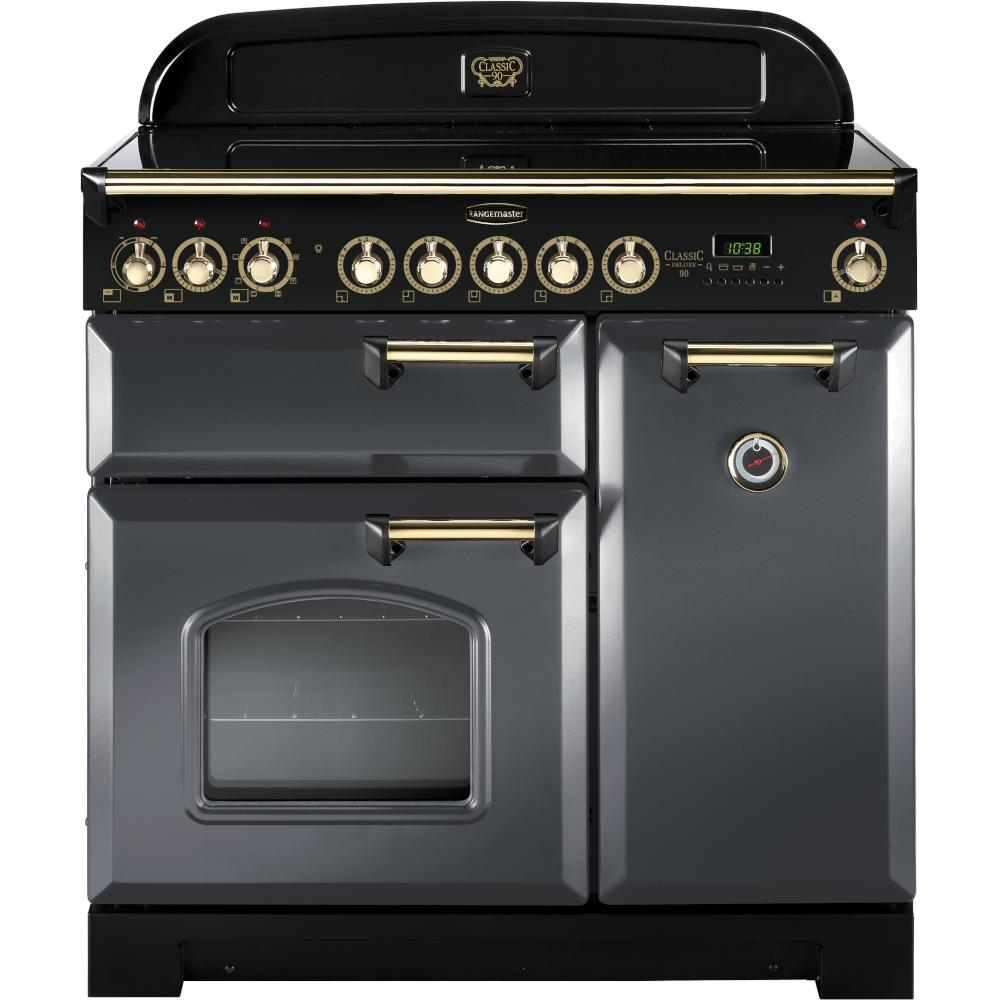 Rangemaster Classic Deluxe CDL90EISL/B 90cm Electric Range Cooker with Induction Hob - Slate/Brass Trim