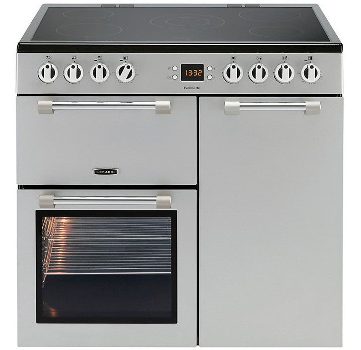 Leisure Cookmaster 90 Electric Ceramic Hob Range Cooker Silver - Moores Appliances Ltd.