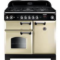 Rangemaster Classic CLA100NGFCR/C 100cm Gas Range Cooker - Cream/Chrome Trim