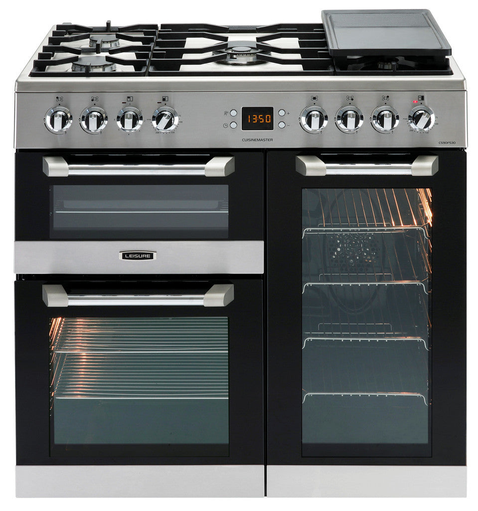 Leisure Cuisinemaster 90 Dual Fuel Range Cooker Stainless Steel - Moores Appliances Ltd.