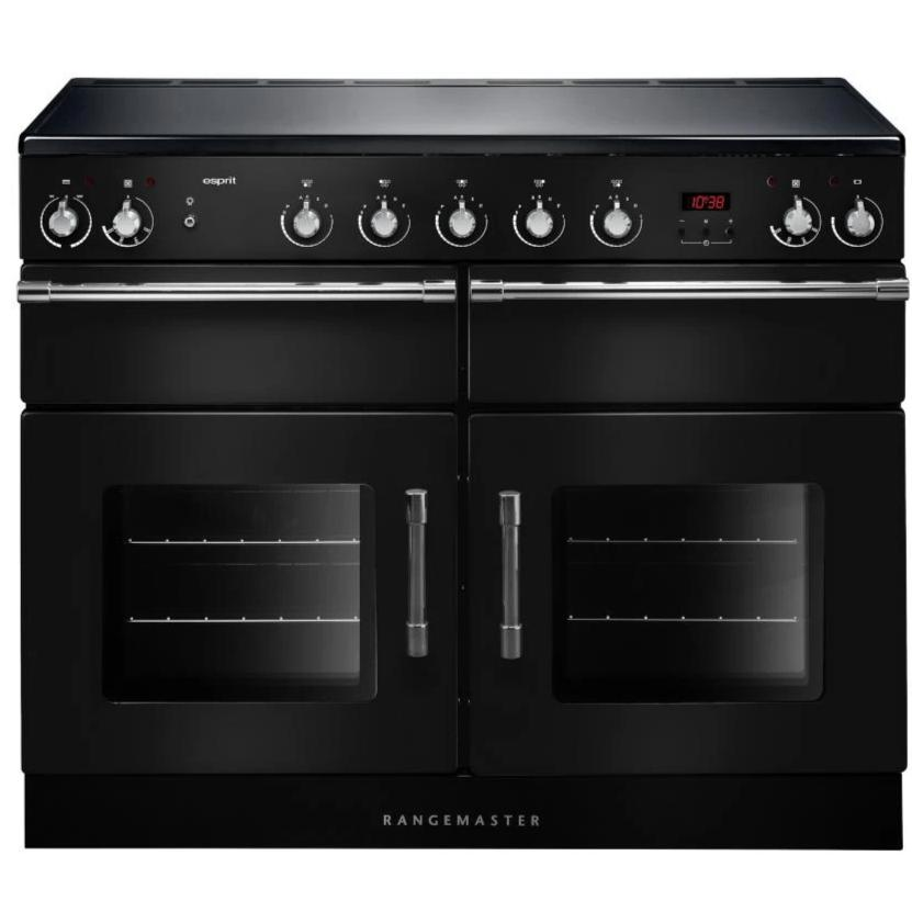 Rangemaster Esprit ESP110EIBL/C 110cm Electric Range Cooker with Induction Hob - Black/Chrome Trim