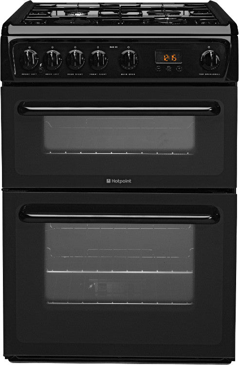 Hotpoint HAG60K Gas Double Oven Cooker 600mm Wide Black - Moores Appliances Ltd.