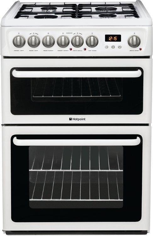 Hotpoint HAG60P Gas Double Oven Cooker 600mm Wide White - Moores Appliances Ltd.
