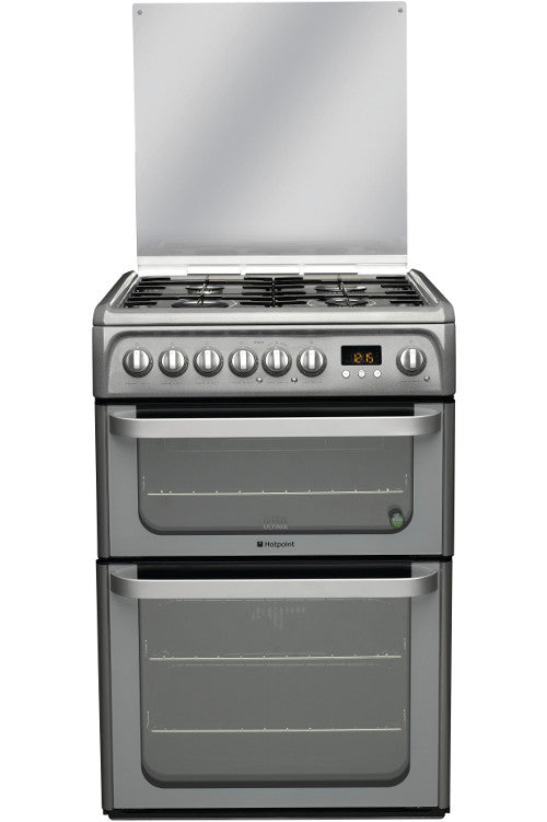 Hotpoint HUD61GS Dual Fuel Double Oven Cooker 600mm Wide Graphite - Moores Appliances Ltd.