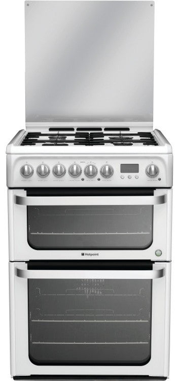 Hotpoint HUD61PS Dual Fuel Double Oven Cooker 600 mm Wide White - Moores Appliances Ltd.