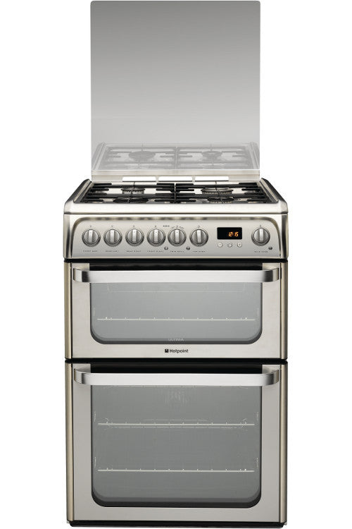 Hotpoint HUD61XS Dual Fuel Double Oven Cooker 600mm Wide Stainless Steel - Moores Appliances Ltd.