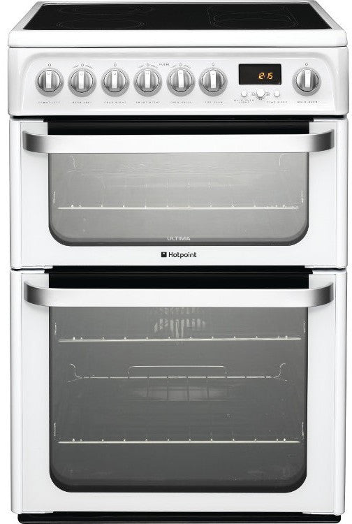 Hotpoint HUE62PS Electric Double Oven Cooker 600 mm Wide White - Moores Appliances Ltd.
