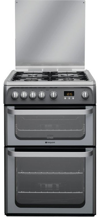 Hotpoint HUG61G Gas Double Oven Cooker 600mm Wide Graphite - Moores Appliances Ltd.