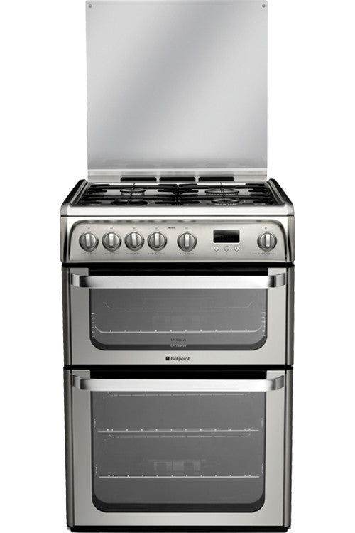 Hotpoint HUG61X Gas Double Oven Cooker 600mm Wide Stainless Steel - Moores Appliances Ltd.
