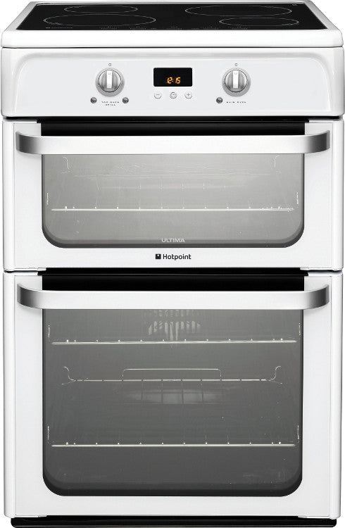 Hotpoint HUI612P Electric Double Oven Cooker 600mm Wide Polar White - Moores Appliances Ltd.