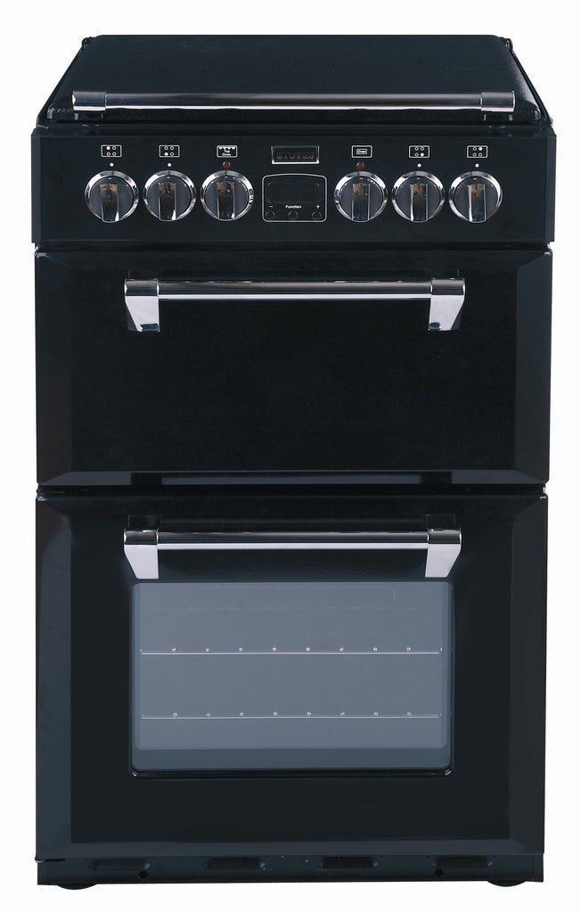 Stoves Richmond 550E Electric Ceramic Hob Double Oven Cooker 550mm Wide Black - Moores Appliances Ltd.