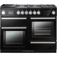 Rangemaster Nexus Steam NEX110SODFFBL/C 110cm Dual Fuel Range Cooker - Black/Chrome Trim