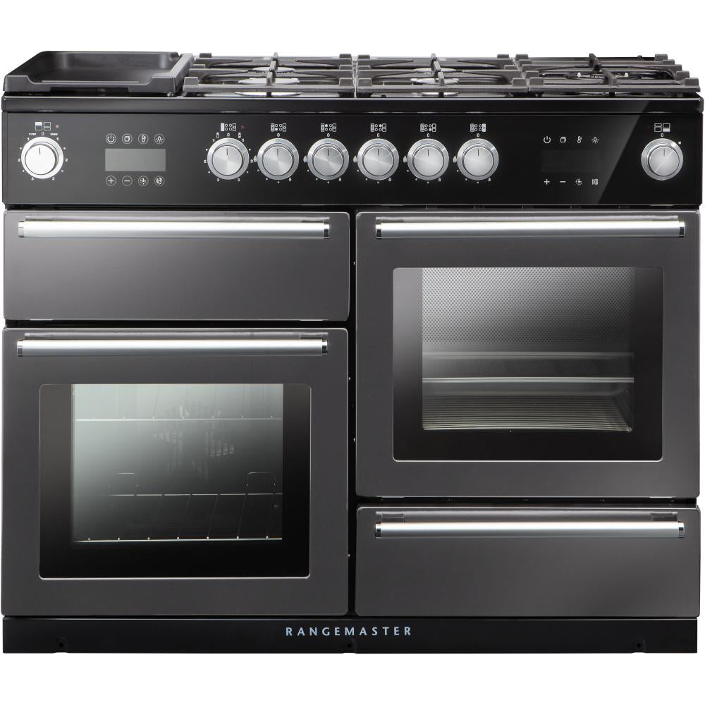 Rangemaster Nexus Steam NEX110SODFFSL/C 110cm Dual Fuel Range Cooker - Slate/Chrome Trim