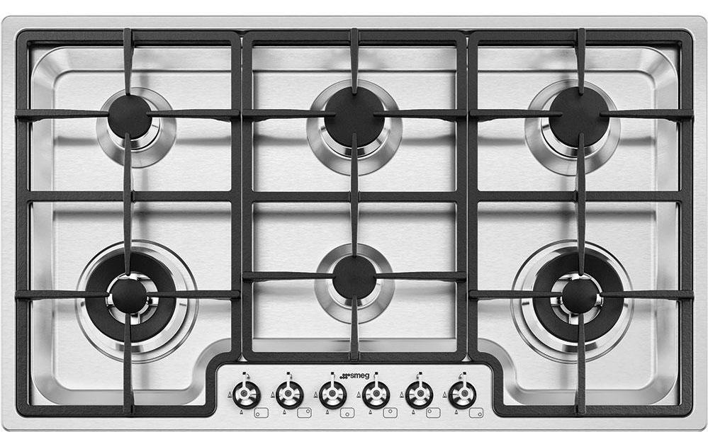 Smeg Classic PGF96 87cm Gas Hob - Stainless Steel