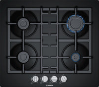 Bosch Serie 4 PNP6B6B90 59cm Gas Hob - Black Glass
