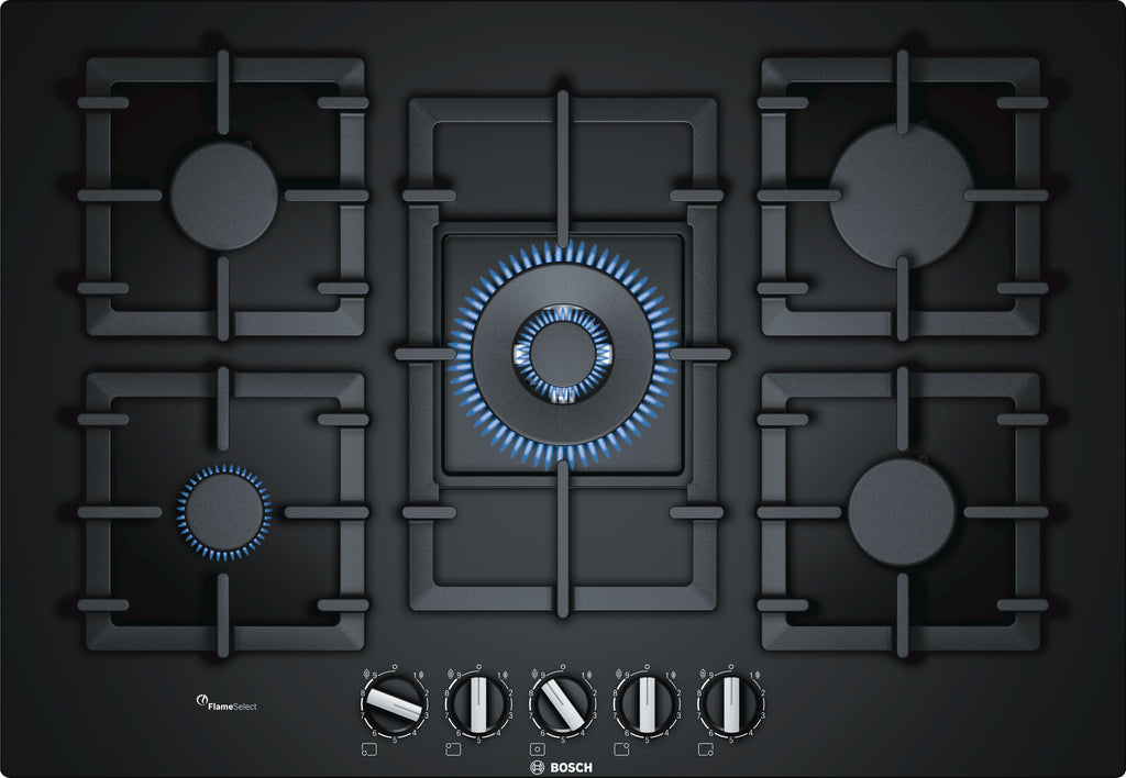 Bosch Serie 6 PPQ7A6B90 75cm Gas Hob - Black Glass