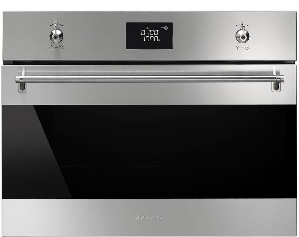 Smeg Classic SF4390MCX Built In Compact Electric Single Oven with Microwave Function - Stainless Steel
