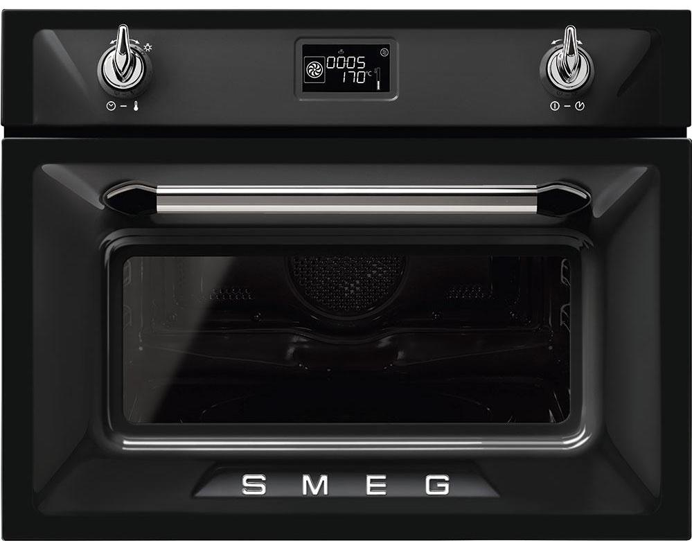 Smeg Victoria SF4920MCN1 Built In Compact Electric Single Oven with Microwave Function - Black