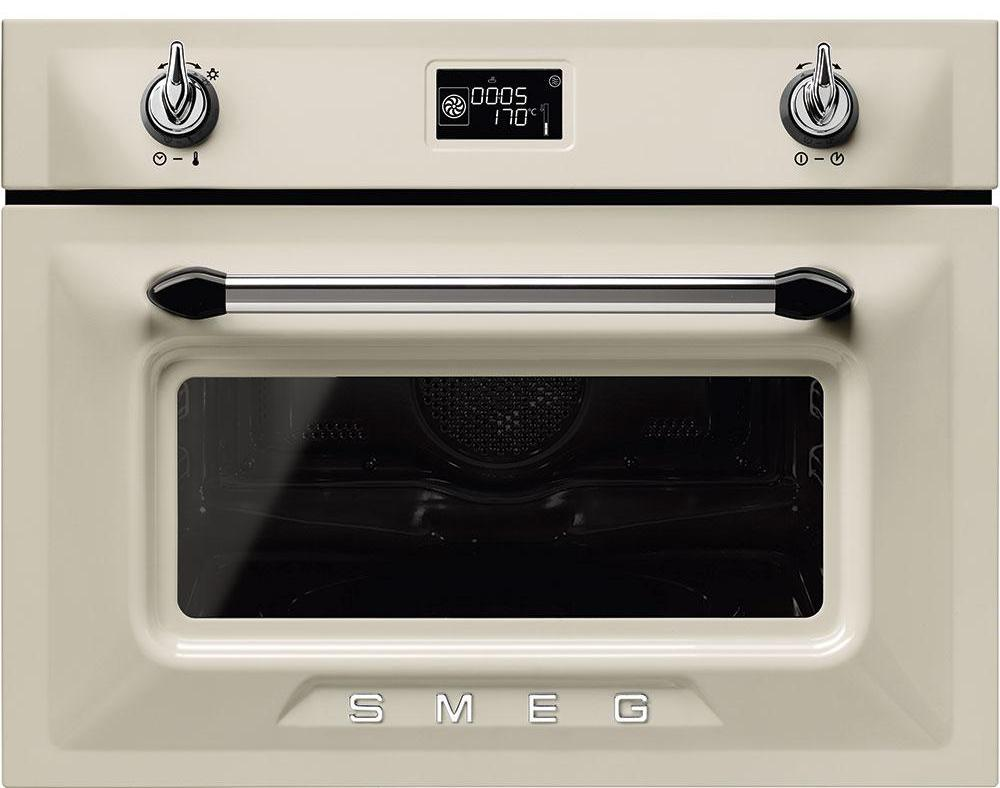Smeg Victoria SF4920MCP1 Built In Compact Electric Single Oven with Microwave Function - Cream
