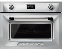 Smeg Victoria SF4920MCX1 Built In Compact Electric Single Oven with Microwave Function - Stainless Steel