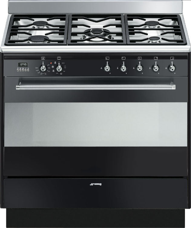 Smeg SUK91MBL9 Concert 90cm Dual Fuel Gloss Black - Moores Appliances Ltd.