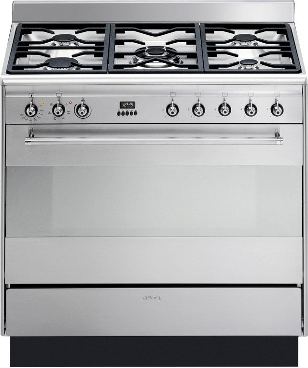 Smeg SUK91MFX9 Concert 90cm Dual Fuel Stainless Steel - Moores Appliances Ltd.