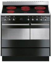 Smeg Concert SUK92CBL9 90cm Electric Range Cooker with Ceramic Hob - Black
