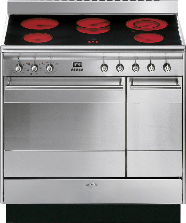 Smeg SUK92CMX9 Concert 90cm Electric Ceramic Hob Stainless Steel - Moores Appliances Ltd.