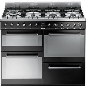 Smeg SYD4110BL Symphony 110cm Dual Fuel Gloss Black - Moores Appliances Ltd.