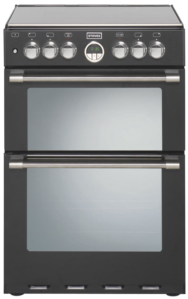 Stoves Sterling 600DF Dual Fuel Double Oven Cooker 600mm Wide Black - Moores Appliances Ltd.