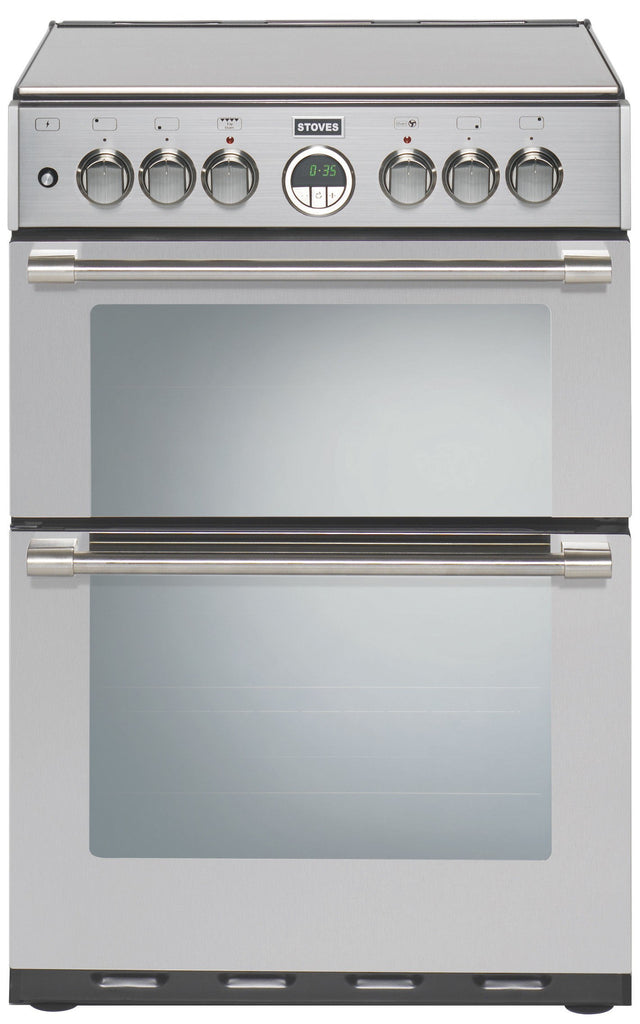 Stoves Sterling 600DF Dual Fuel Double Oven Cooker 600mm Wide Stainless Steel - Moores Appliances Ltd.