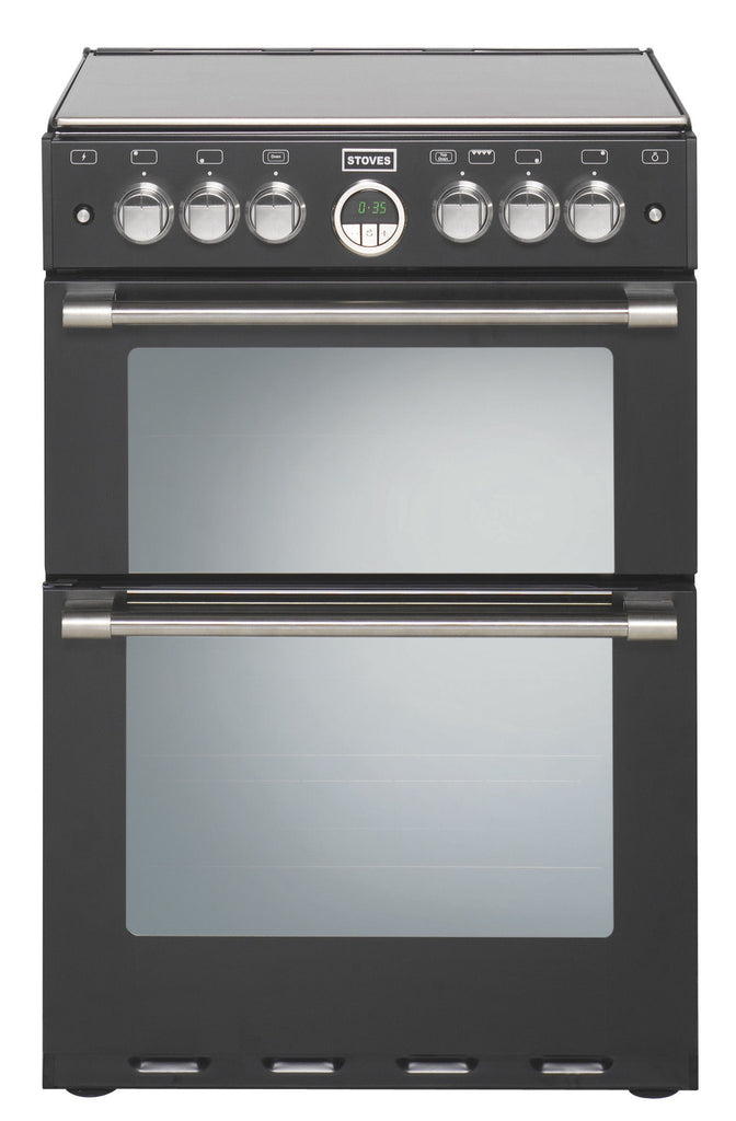 Stoves Sterling 600G Gas Double Oven Cooker 600mm Wide Black - Moores Appliances Ltd.