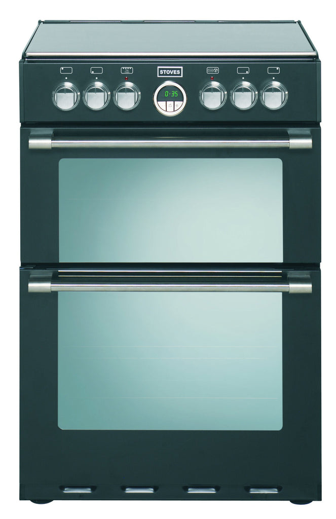 Stoves Sterling 600E Electric Ceramic Hob Double Oven Cooker 600mm Wide Black - Moores Appliances Ltd.