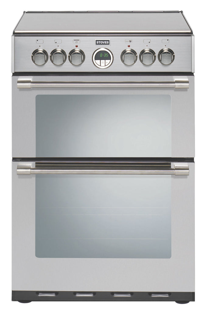 Stoves Sterling 600E Electric Ceramic Hob Double Oven Cooker 600mm Wide Stainless Steel - Moores Appliances Ltd.