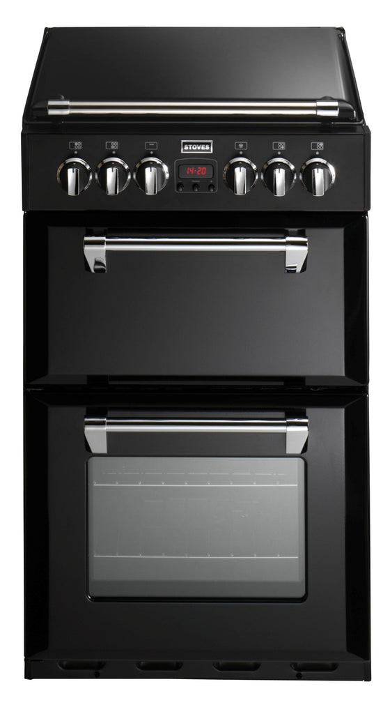 Stoves Richmond 550DFW Dual Fuel Double Oven 550mm Wide Cooker Black - Moores Appliances Ltd.