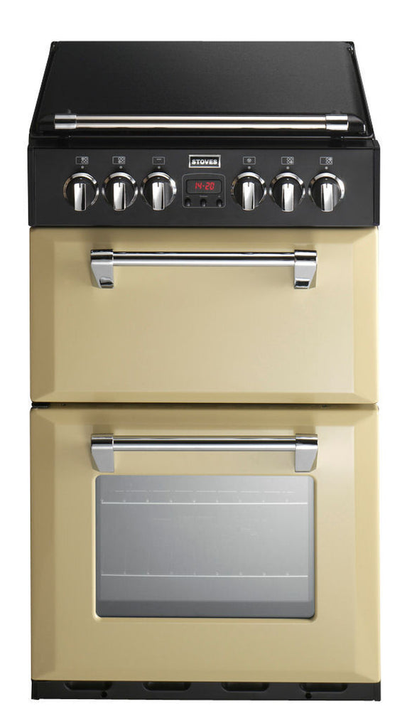 Stoves Richmond 550DFW Dual Fuel Double Oven Cooker 550mm Wide Champagne - Moores Appliances Ltd.