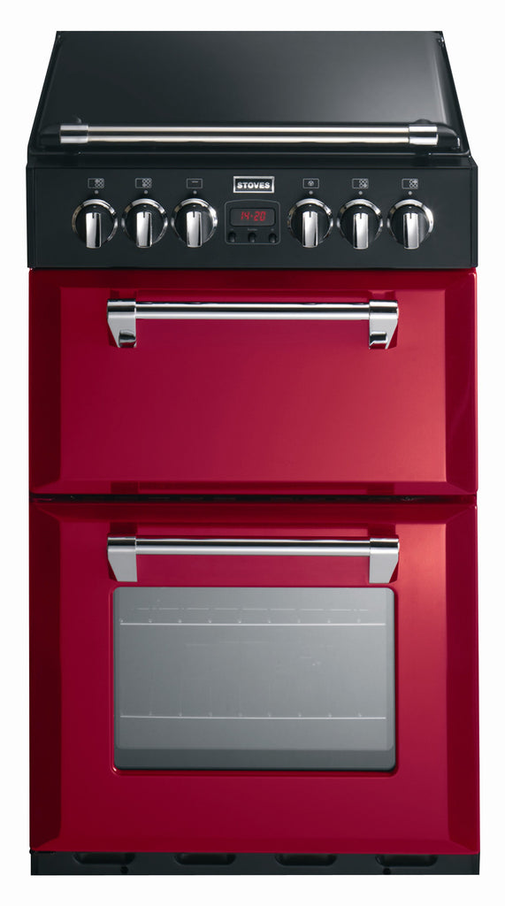 Stoves Richmond 550DFW Dual Fuel Double Oven Cooker 550mm Wide Hot Jalapeno - Moores Appliances Ltd.