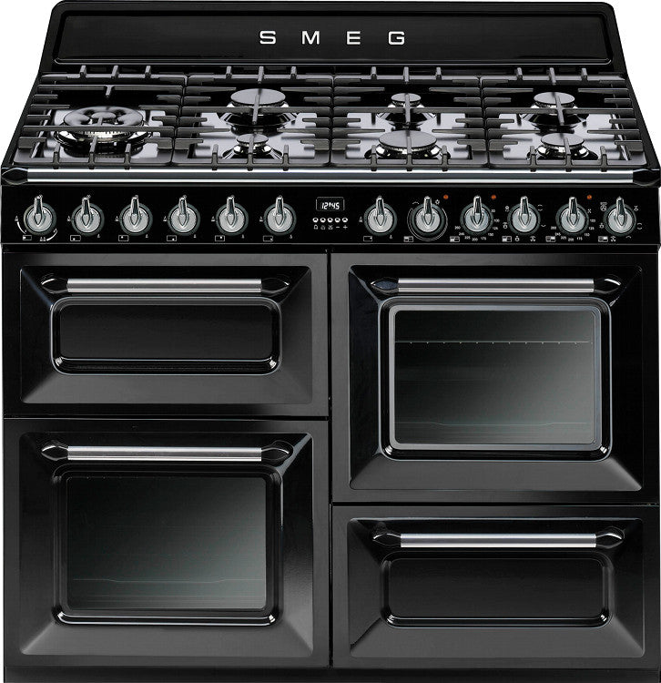 Smeg TR4110BL1 Victoria 110cm Dual Fuel Gloss Black - Moores Appliances Ltd.