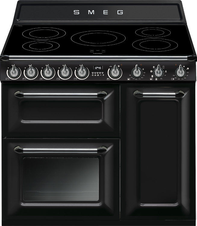 Smeg TR93IBL Victoria 90cm Electric Induction Hob Gloss Black - Moores Appliances Ltd.