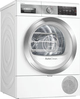 Bosch Serie 8 WTX88EH9GB Wifi Connected 9Kg Heat Pump Tumble Dryer with Self Cleaning Condenser - White - A+++ Rated