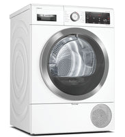 Bosch Serie 8 WTX88RH9GB Wifi Connected 9Kg Heat Pump Tumble Dryer with Self Cleaning Condenser - White - A+++ Rated