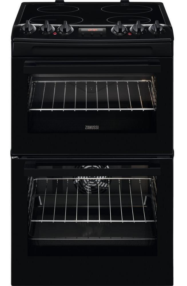 Zanussi ZCV46250BA 55cm Electric Cooker with Ceramic Hob - Black