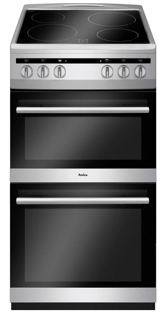 Amica AFC5100SI 50cm Electric Cooker with Ceramic Hob - Silver