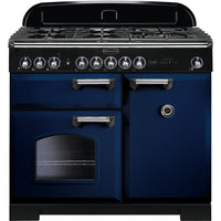 Rangemaster Classic Deluxe CDL100DFFRB/C 100cm Dual Fuel Range Cooker - Regal Blue/Chrome Trim
