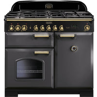 Rangemaster Classic Deluxe CDL100DFFSL/B 100cm Dual Fuel Range Cooker - Slate/Brass Trim