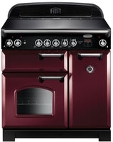 Rangemaster Classic CLA90ECCY/C 90cm Electric Range Cooker with Ceramic Hob - Cranberry/Chrome Trim