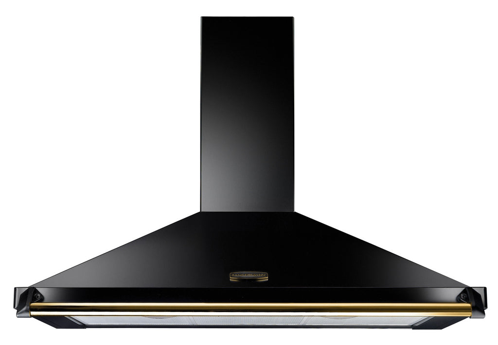 Rangemaster Classic CLAHDC110BB 110cm Chimney Hood - Black with Brass Trim