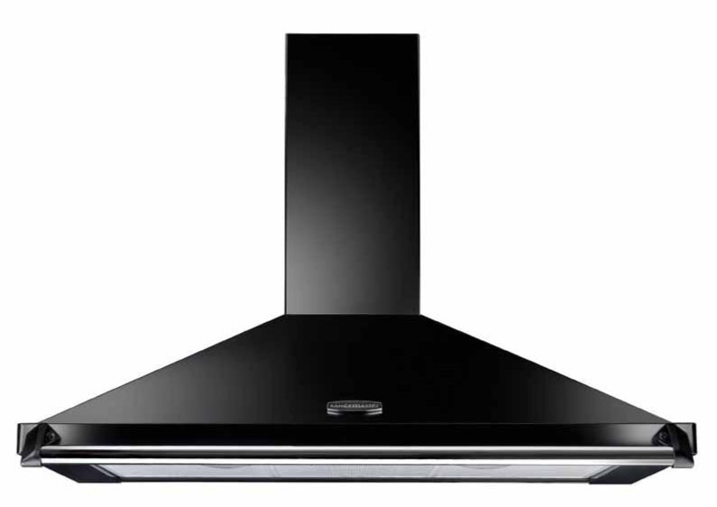 Rangemaster Classic CLAHDC90BC 90cm Chimney Hood - Black with Chrome Trim